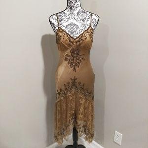 Sue Wong Beaded Silk Slip Dress